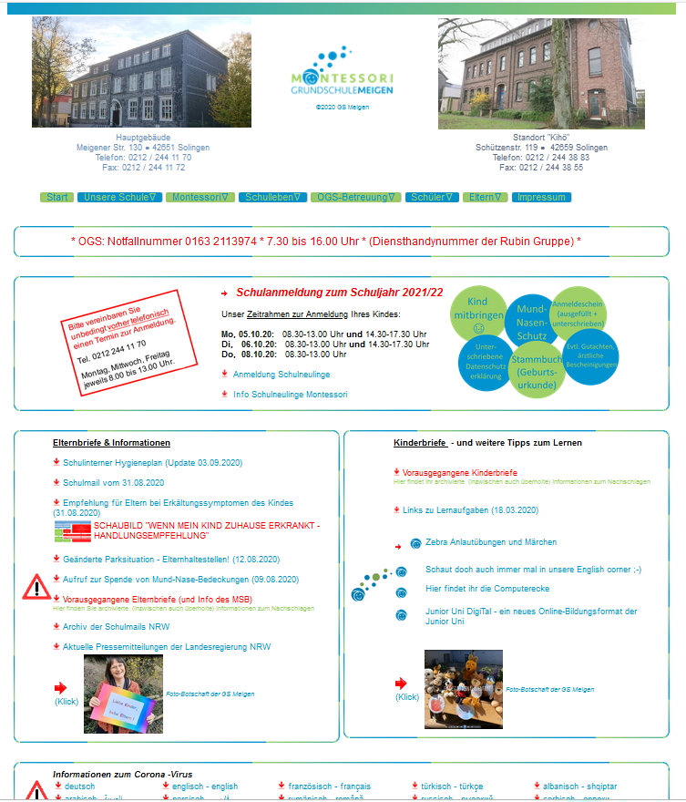 Screenshot der Website der Grundschule Meigen
